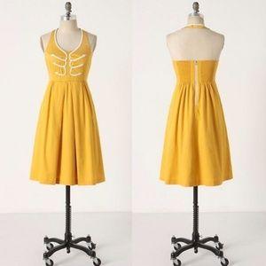 Yellow Anthropologie Halter Dress